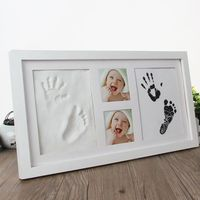 Newborn Baby Handprint Footprint Display Wood Photo Frame Growing DIY Souvenirs