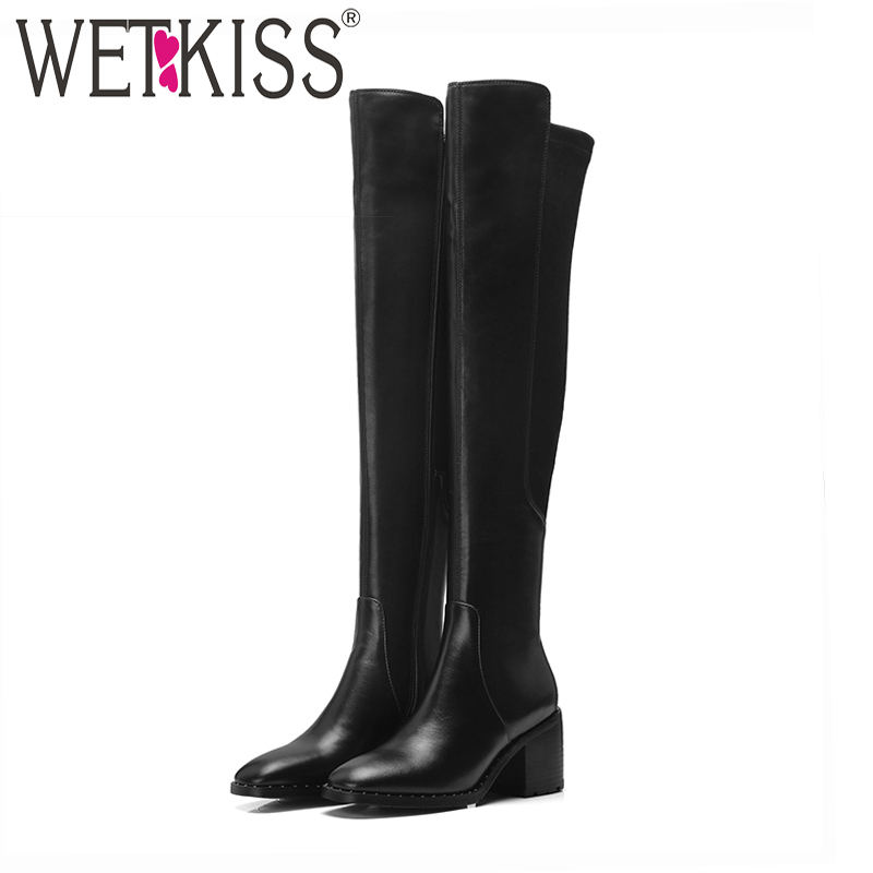 WETKISS High Heels Women Over The Knee Boots Square Toe Footwear Rivet Female Boot Stretch Leather
