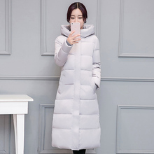 2016 Korean winter coat girls down long slim knee thick warm cotton padded jacket cotton size