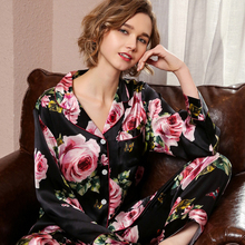 Real Silk Pajama Female Spring Autumn Silkworm Long-Sleeve Two-Piece Romantic Rose SILK Womans Sleepwear Summer T8189