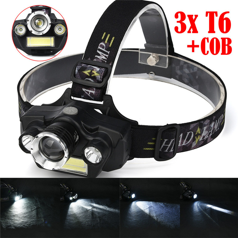 Bike Bicycle Cycling Light Headlight 15000LM 3x XM-L T6 LED +COB Rechargeable 18650 Headlamp Head Light Torch A1 950lm 3 mode white bicycle headlamp w cree xm l t6 black silver 2 x 18650