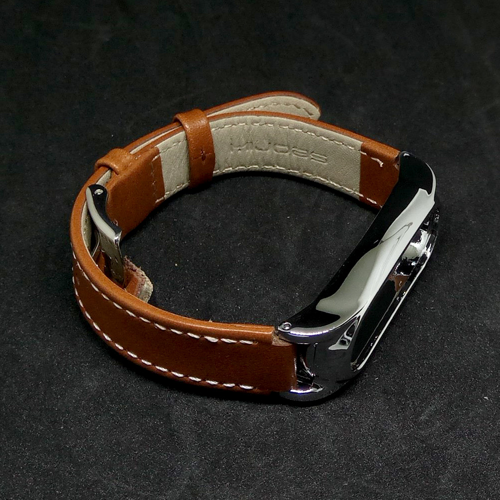 Kulit Strap Untuk Xiaomi Miband 2 Coklat Referensi Daftar Harga Mi Band Genuine Leather Asli Stainless Elegant Versi Baru Mijobs Tali Screwless Logam Gelang