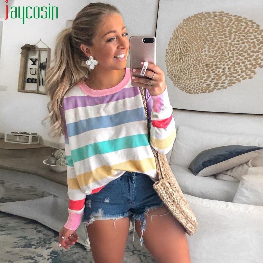 ICE Cream Fashion Womens Casual Blouse O-Neck Striped Long Sleeves Autumn Tops Warm Slim Shirt