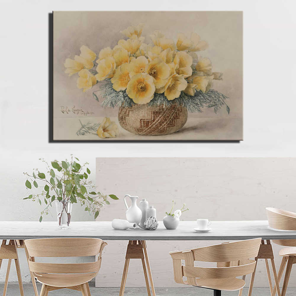 Large Size Carnation Flowers Canvas Paintings Yellow Color Vase Flowers Posters And Prints For Living Room Bed Room Wall Decor