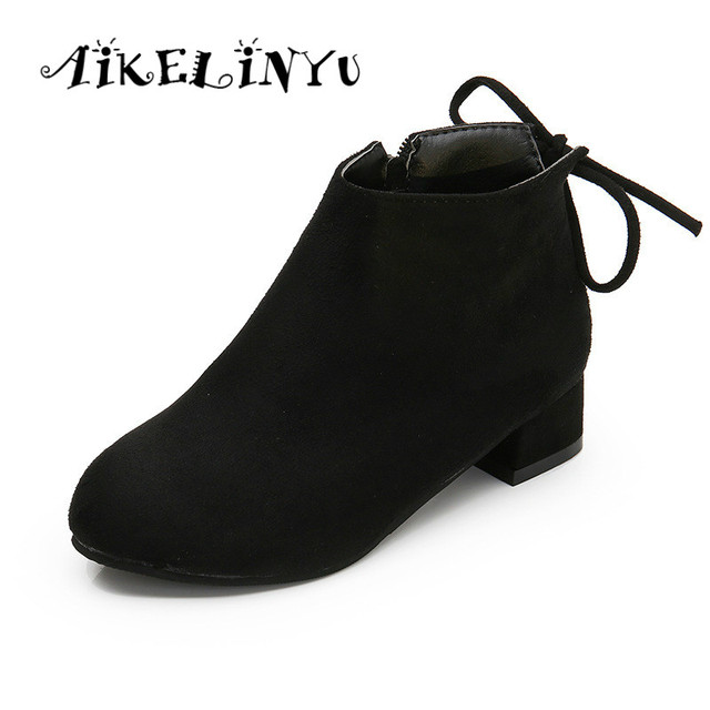 76ee2a5c9fd2c AIKELINYU Winter Children Shoes Fashion Princess Short Boots Girls High  Heels Shoes Kids Leather Boots Red Lace Fashion Boots