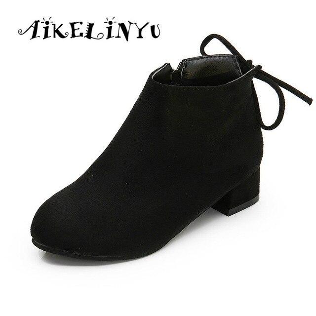 e692fb03b Aikelinyu зимняя детская Обувь принцессы полусапожки Обувь для девочек  обувь на высоком каблуке дети кожаные сапоги