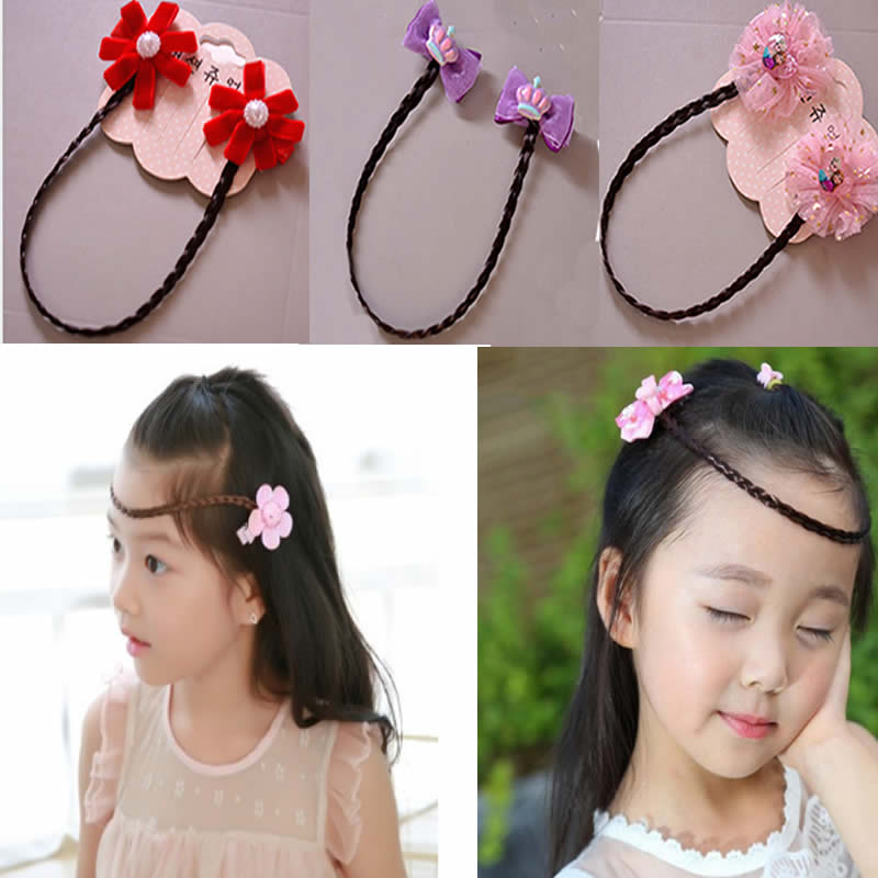 Intelligent Kids Headwear Girl Crown Princess Chain Brows Brow Hairpin Hair Wigs Braid Baby Flower Chesapeake Hairpin Girls Hairbands