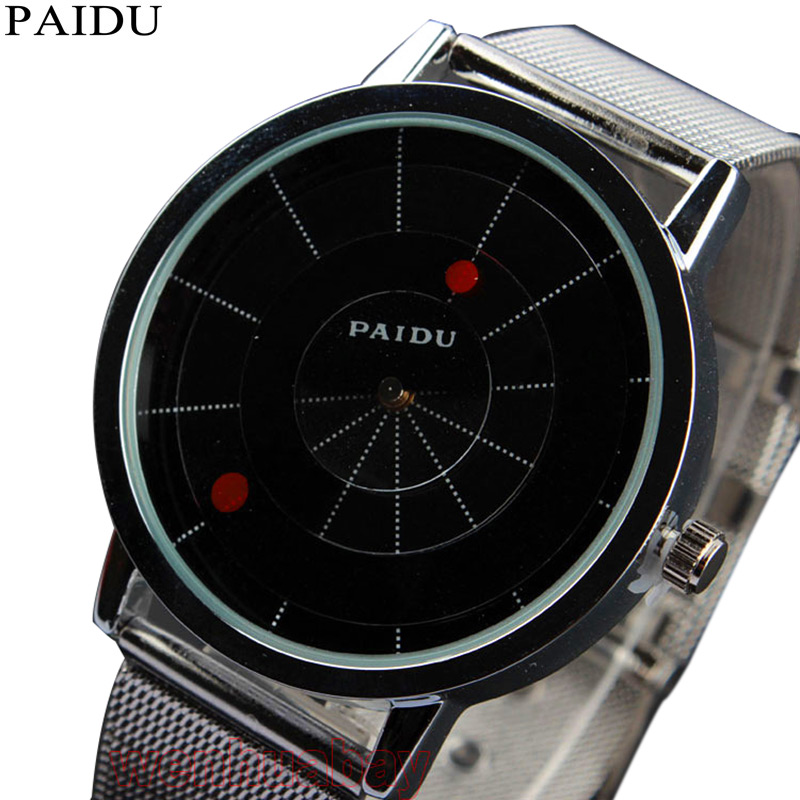 Unique Design Creative Arc Pointers Turntable Mesh Band Unisex Creative Watches Fashion Wristwatches Mens Women Gift Dropship