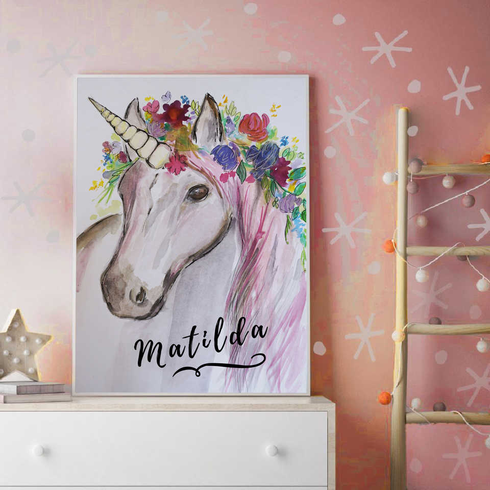 HD Prints Nordic Style Modern Home Decoration Unicorn Picture Wall Art Canvas Painting For Living Room Poster Watercolor Modular