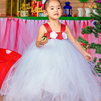 2016 Top quality A sweet Flower Girl Dresses White Flower 2-10Year Cute Christmas Draped Ball Gown Evening Dress Children Prom