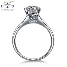 Genuine 925 Sterling Silver Classic 6 claws Eternal Synthetic Diamond White Cubic Zirconia Wedding & Engagement Rings For Women