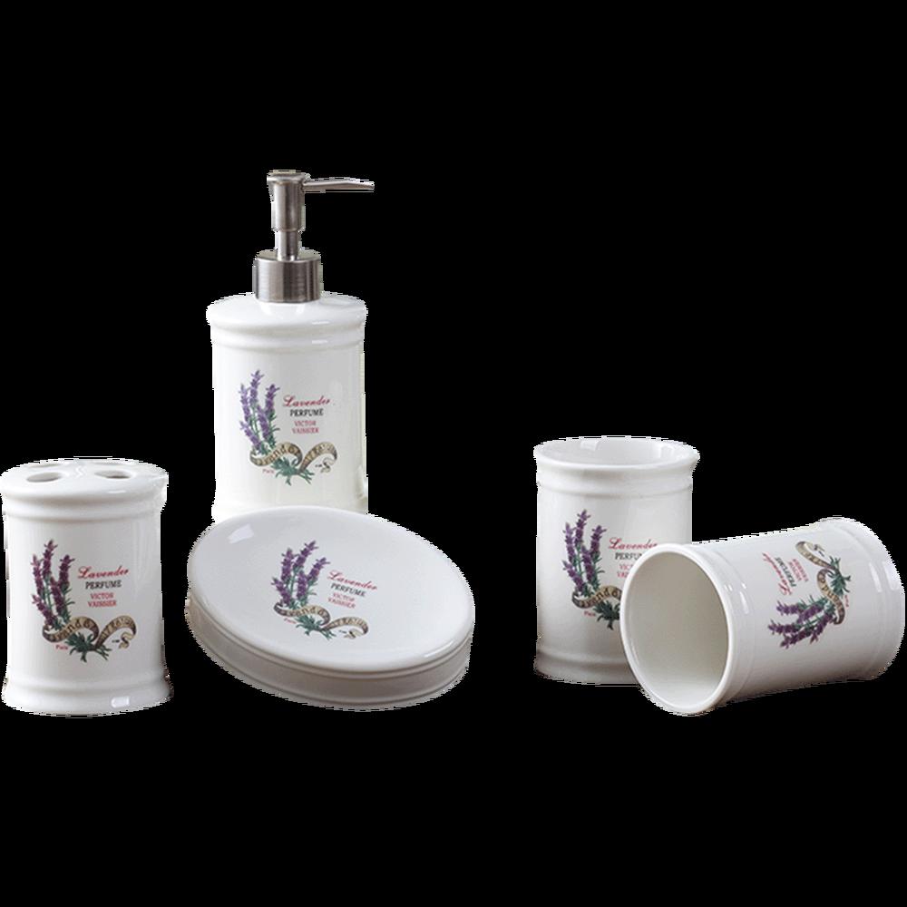 Nordic ceramic wash lavender five-piece cup set bathroom ware wash set bathroom set lo88237Nordic ceramic wash lavender five-piece cup set bathroom ware wash set bathroom set lo88237