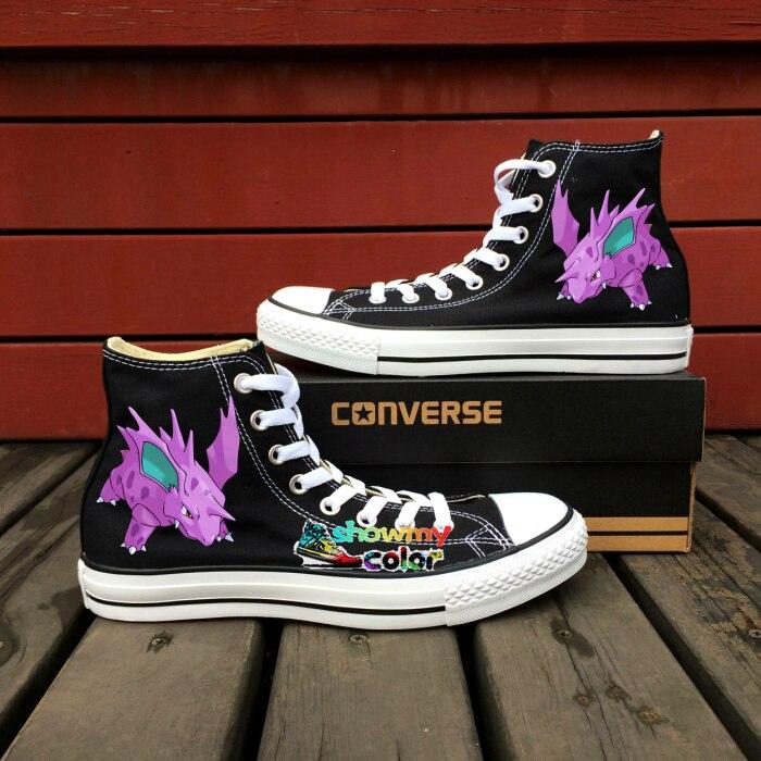 Prix pour Pokemon Aller Nidorino Converse All Star Custom Design Peint À La Main Toile Chaussures Noir Sneakers