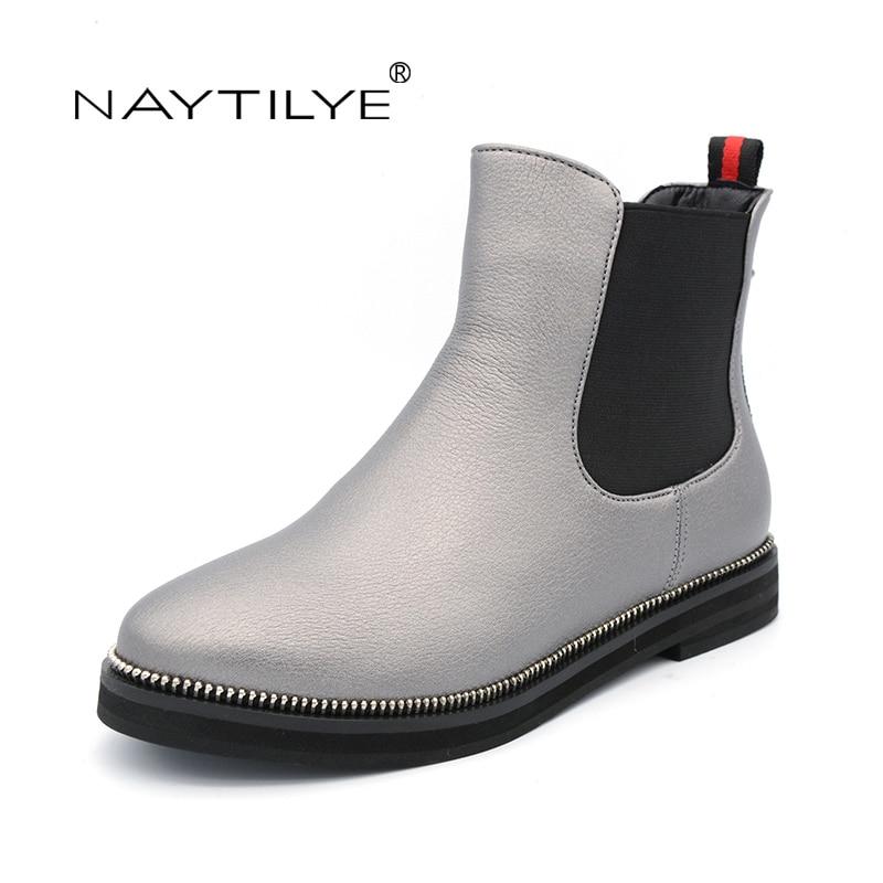 где купить NATILYE New fashion 2017 PU eco leather shoes woman ankle boots women slip-on round toe spring Autumn black gray size 36-40 по лучшей цене