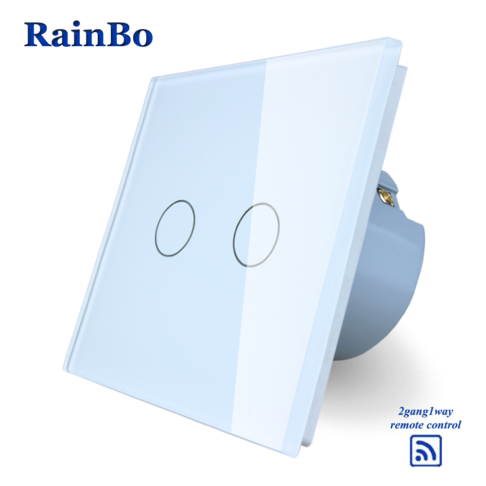 RainBo Crystal Glass Panel Switch EU Wall Switch  Remote Touch Switch Screen Wall Light Switches 2gang1way  LED lamp A1923CW/B eu plug 1gang1way touch screen led dimmer light wall lamp switch not support livolo broadlink geeklink glass panel luxury switch