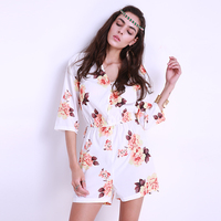 2016 New Women Spring Summer Short Loose Jumpsuits Flower Printing Playsuit Floral Printed Rompers Bodysuit Overall