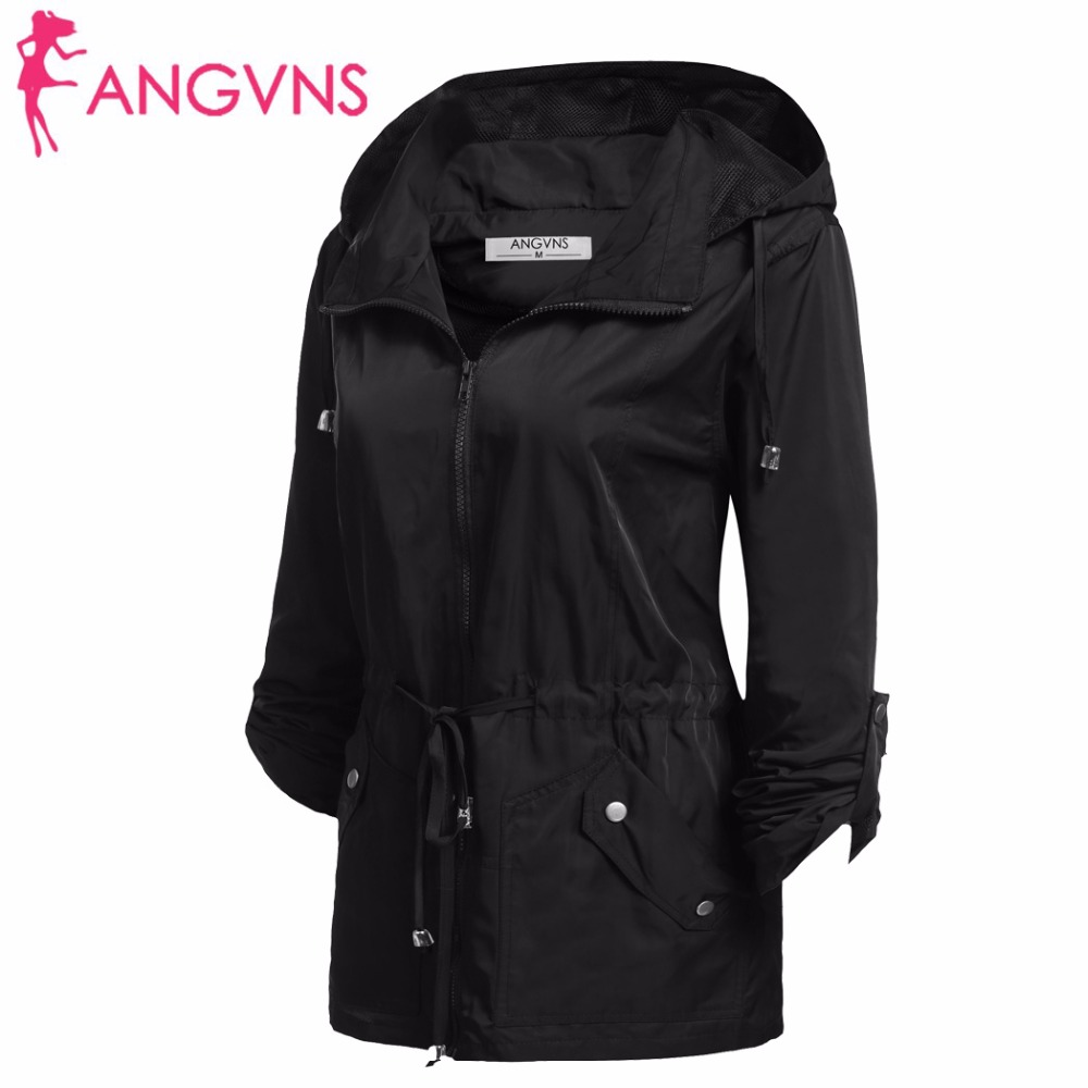 7379957967b angvns jacket ANGVNS Women Basic Jackets Autumn Waterproof Detachable Hooded  Long .