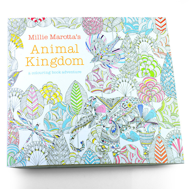 1 Pcs 24 Pages Cute English Edition Animal Kingdom Coloring Book Relieve Stress Drawing Secret Garden