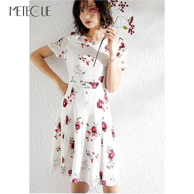 Meyve Baskılı 100% Ipek Midi Elbise 2019 İlkbahar Yaz Moda Kısa Kollu Yaz Elbise 2019 Yaz