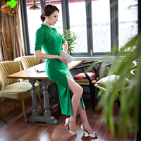 Fashion Slim Sexy Long Qipao One-Piece Party Dress Cheongsams Chinese female traditional flower Lace Long Cheongsam for Women's