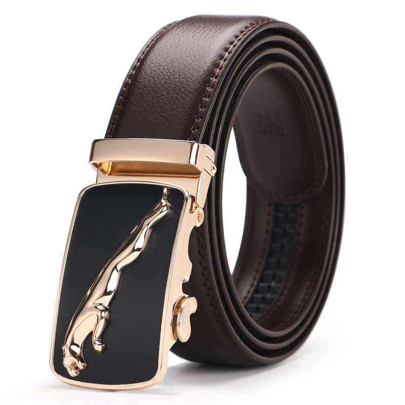 High Quality Man Business Brand   Belts   Cowskin Leather Automatic Buckle Men Brown   Belts   Solid Color Practical Male Luxury   Belts