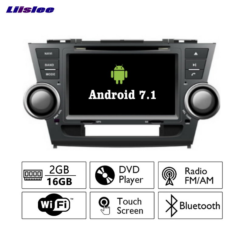 Liislee Android 7.1 2G RAM For Toyota Highlander Car Radio Audio Video Multimedia DVD Player WIFI DVR GPS Navi Navigation
