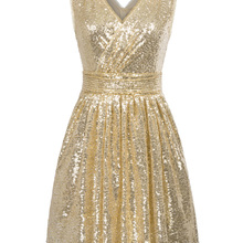Женское мини-платье с блестками Kate Kasin, элегантное бальное платье с v-образным вырезом без рукавов, вечерние платья
