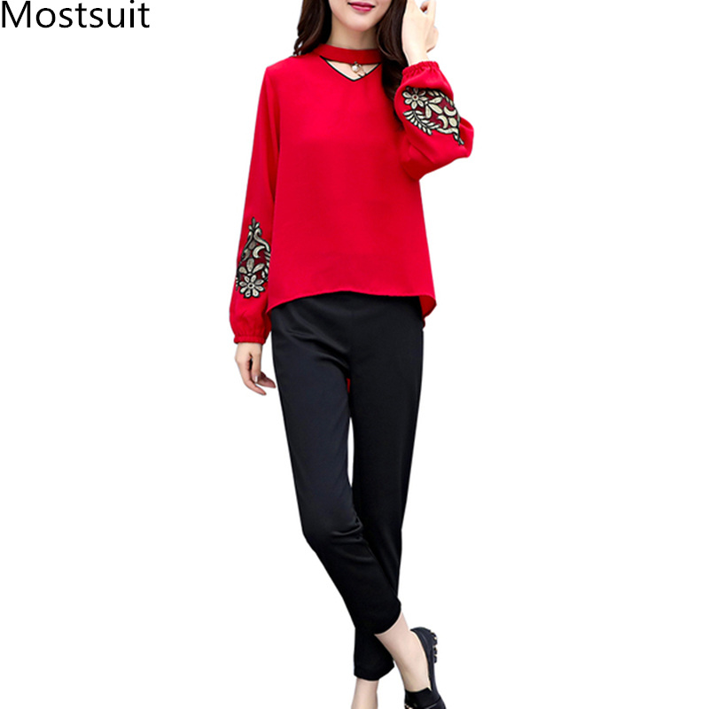 Spring Summer Two Piece Sets Women Plus Size Black Red Embroidery Long Sleeve Tops And Pants Suits Office Elegant Korean Sets 27