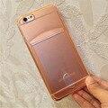 """Slot para cartão fino tpu protector caso de telefone para o iphone 6/6 s 4.7 """"clear protective ultrafinos cobertura conveniente"""