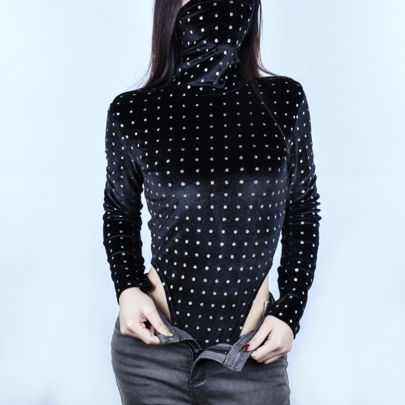 Bodysuits Straightforward Ahvit 2019 New Arrival Fashion Dot Printed Bodysuits Women Long Sleeve Turtleneck Spring Skinny Romper B-p8c0607z Ample Supply And Prompt Delivery