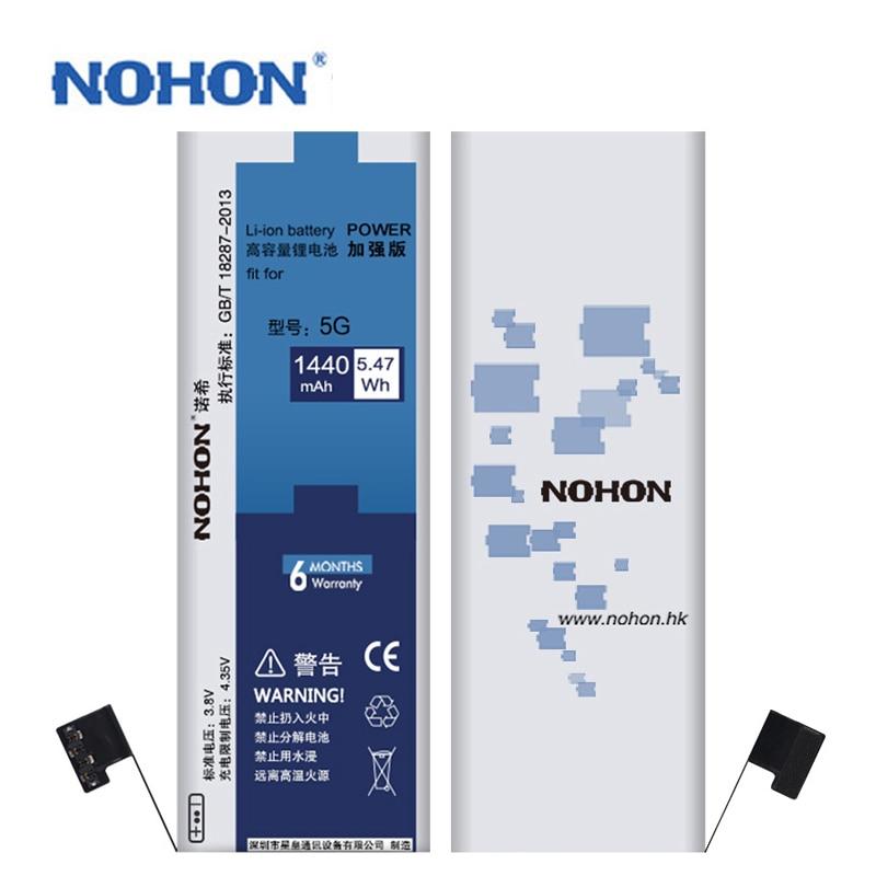 Оригинальная NOHON литий-полимерный батарея Для Apple Iphone 5 5G аккумуляторы Bateria For iPhone5 Li-ion Batarya батареи Ремонт Станков Подарков Высокое Качество 1440 мАч Реальная Емкость