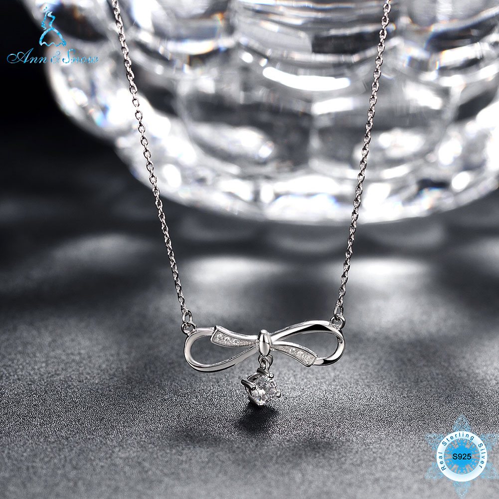 Ann & Snow 100% Sterling silver Bowknot Pendant Necklaces Jewelry Cubic Zirconia Chokers ...