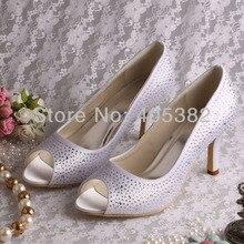 Wedopus Custom Handmade 3 1/4 Inch White Wedding Bride Shoes for Women White 2015 Spring