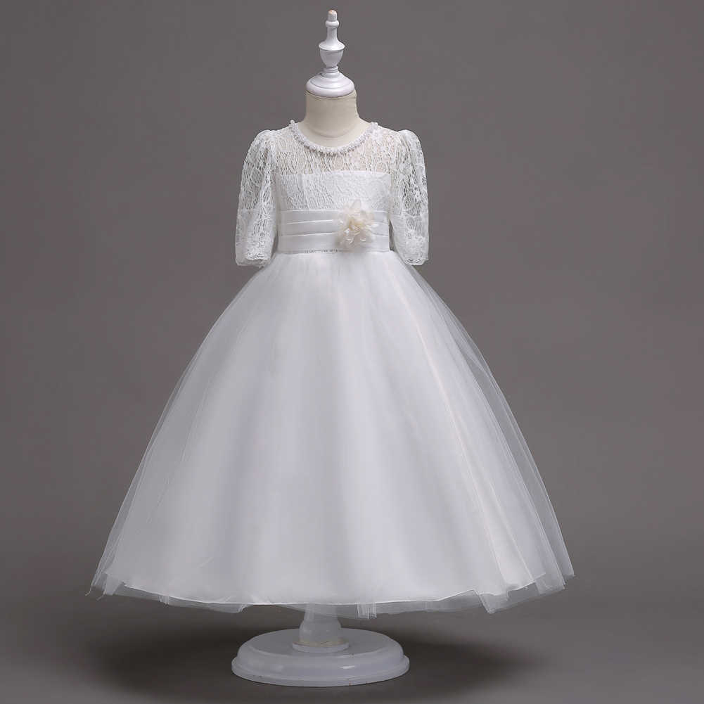 e5a23c6f476eb Kid Wedding Dress Girl Party Gown Elegant First Holy Communion Dresses for  Girls White Purple Grey Children-clothing Princess