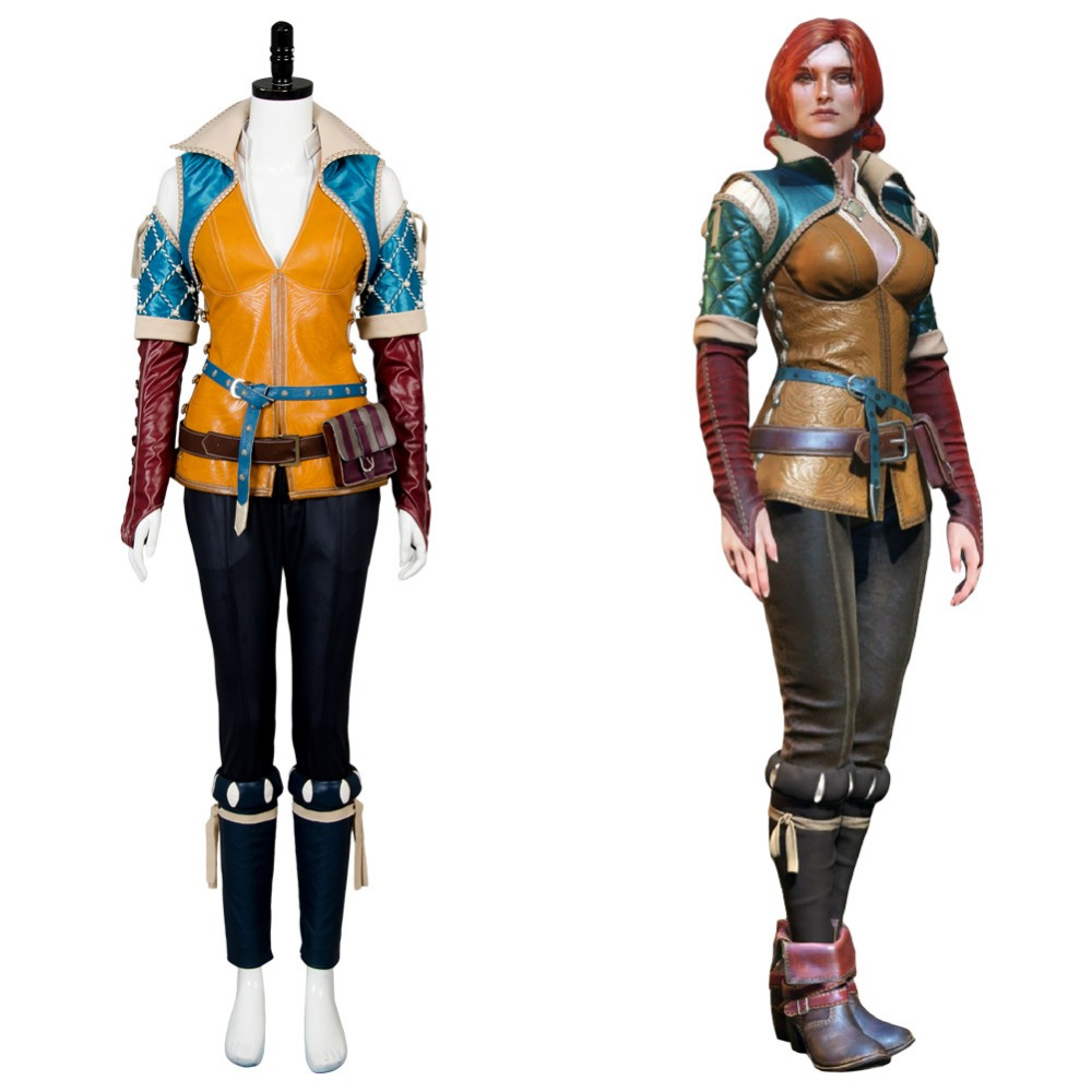 The Witcher 3 Cosplay Wild Hunt Triss Cosplay Costume Full Set Outfit Triss Costume Halloween Carnival  In Stock Full Set