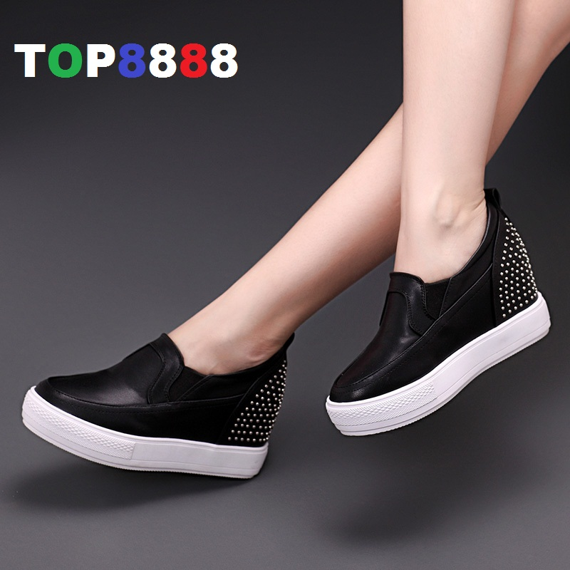 2016 New Spring Hot Sales Invisible High Heel Wedge Shoes Elegant Comfortable Lady Casual Shoes PU