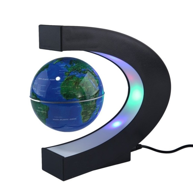 Magnetic levitation floating world map globe c shape base anti magnetic levitation floating world map globe c shape base anti gravity with led light lamp for gumiabroncs Gallery