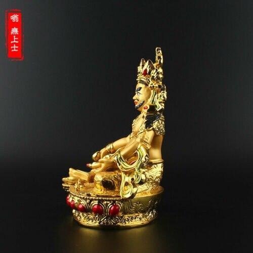 Tibetan Buddhism Hand painting resin Gilt statue Yellow Jambhala A8