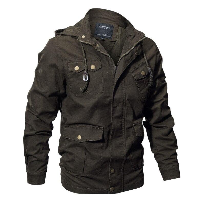 Grande taille hommes militaire à capuche veste hommes automne vêtements de sortie d'hiver Slim décontracté homme armée Bomber veste tactique Cargo manteau Parka