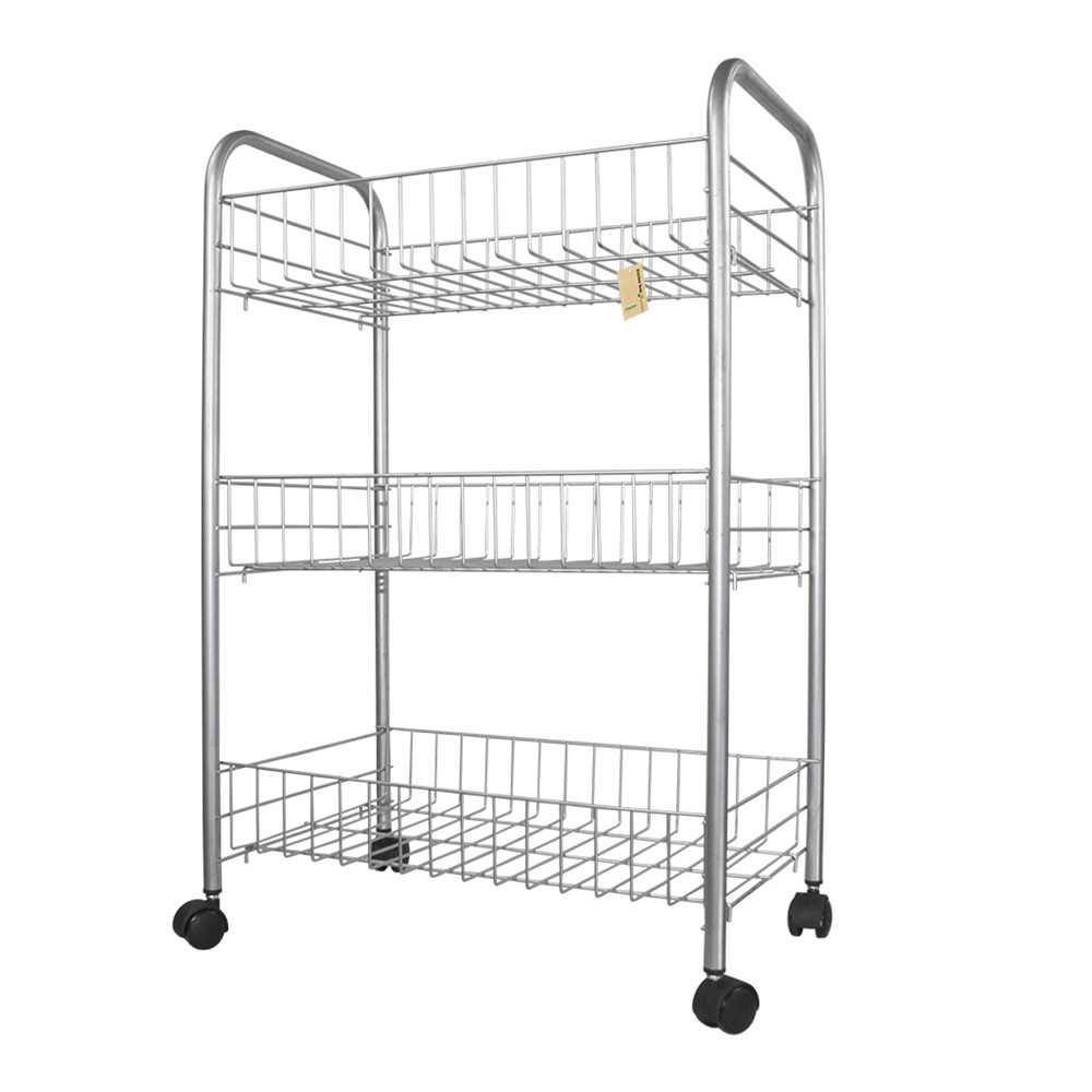 Finether 3 Tier Wire Rolling Cart 3 Shelf Wire Shelving