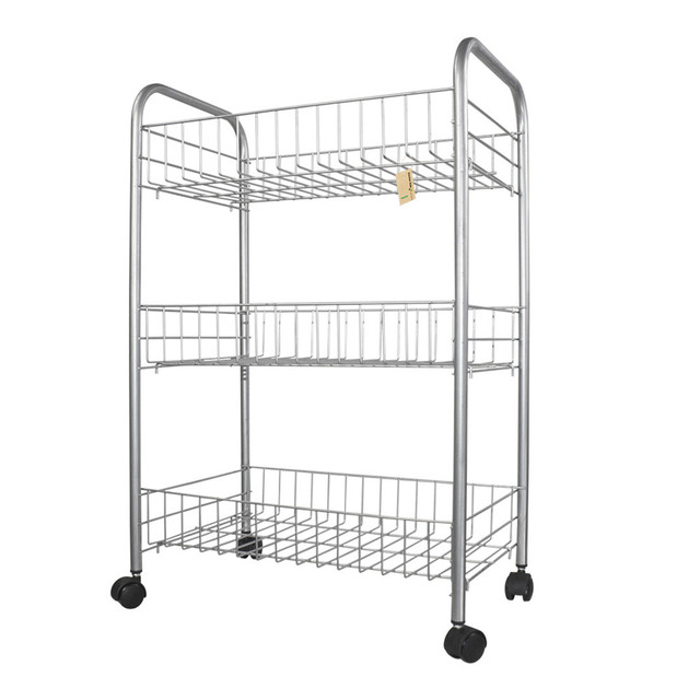 Finether 3 Tier Wire Rolling Cart 3 Shelf Wire Shelving Rack Shoes ...