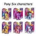 Figuras de ação 8 cm Boneca Cavalo Seis personagens Brinquedos Raridade & & & Fluttershy Twilight Sparkle Rainbow Dash & Applejack & Pinkie pie Anime Brinquedo
