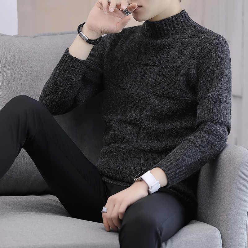 Кашемировые свитера мужские с левой ПЗУ, брендовая одежда, мужские свитера, однотонная повседневная трикотажная рубашка, Осенний шерстяной пуловер с высоким воротником, XXXL