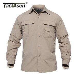 Image 3 - TACVASEN גברים של בגדים צבאיים קל צבא חולצה מהיר יבש טקטי חולצה קיץ נשלף ארוך שרוול עבודה האנט חולצות