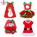 2016 Nuevas Muchachas de la Navidad Vestido de Manga Larga de Invierno Vestidos de Punto Ropa de Los Cabritos del Algodón de Los Niños Ropa de Fiesta De Navidad Del Traje