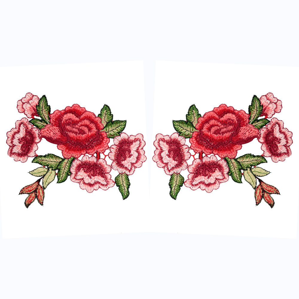 2 x Iron//Sew on Floral Patch Cute Dress Embroidered Rose Flower Applique Badge