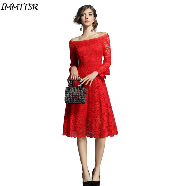 IMMTTSR Vintage Black White Red Lace Cocktail Women Dresses Flare Sleeve  Sexy Off Shoulder Club Dress For Wedding Party Vestidos 650087708318