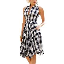 2019 New Yfashion Women Plaid Printing Pocket Irregular Casual Pleated Dress