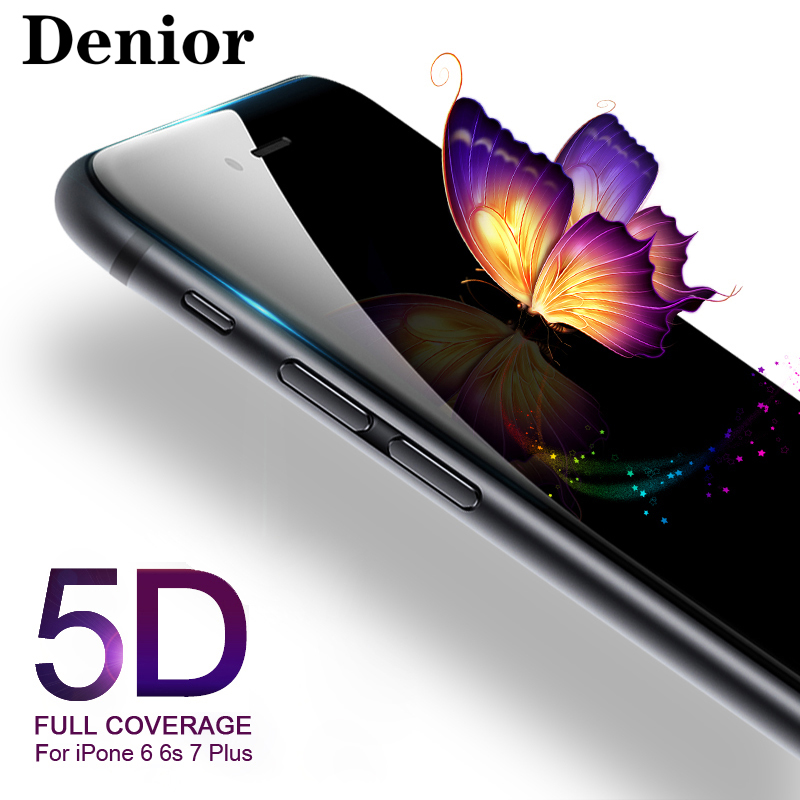 Denior 5D Tempered Glass for iPhone X 6s Screen Protector IPhone 6 7 8 Plus 3D Full Glue Cover Curved Edge Film