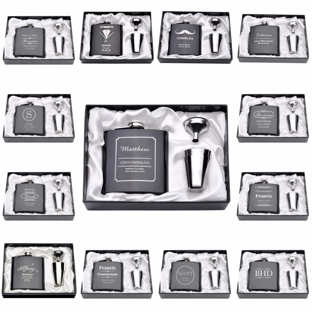 1 Set Personalized Engraved 6oz Hip Flask Stainless Steel With White & Black Box Birthday Valentine's Day Gift Wedding Favors